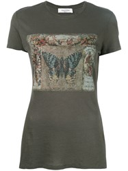 Valentino Butterfly Print T Shirt Green