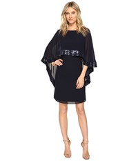 Vince Camuto Mini Dress With Cape Back Overlay And Sequin Trim Navy Women's Dress