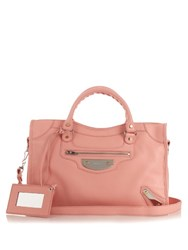 Balenciaga Metal Plate City Leather Tote Light Pink
