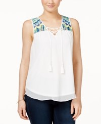Amy Byer Bcx Juniors' Sleeveless Embroidered Tie Front Blouse White
