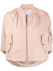 Red Valentino Cropped Ruffle Bomber Jacket 60