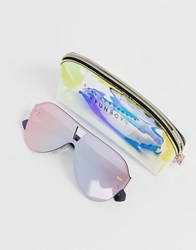 Quay Australia Stay Afloat Aviator Sunglasses In Pink
