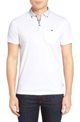 Ted Baker Men's London Woven Collar Polo White