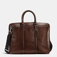 Coach Metropolitan Brief In Sport Calf Leather Black Antique Nickel Mahogany