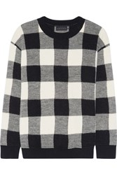 Hatch The Louisa Plaid Alpaca And Merino Wool Blend Sweater Black