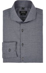 Barneys New York Men's Micro Houndstooth Cotton Flannel Shirt Dark Grey