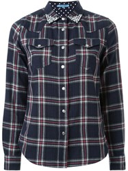 Guild Prime Bejeweled Collar Plaid Button Down Shirt Blue