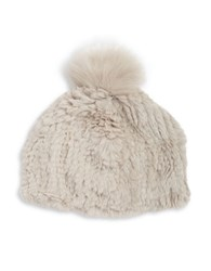 Adrienne Landau Fox Fur Pom Pom Accented Rabbit Fur Beanie Hat Light Grey