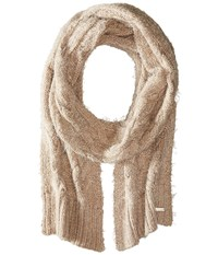 Calvin Klein Fuzzy Cable Scarf Heathered Almond Scarves Beige