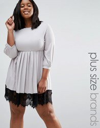 Praslin Plus Dress With Pleated Skirt And Lace Hem Silver Grey