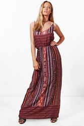 Boohoo Katerina Keyhole Detail Printed Maxi Dress Multi