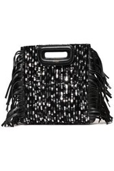 Maje Woman Sequined Fringed Leather And Velvet Clutch Black