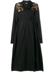Ashish Embroidered Wrap Coat Black