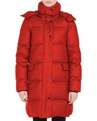 Akris Punto Stand Collar Water Repellent Quilted Puffer Coat W Detachable Hood Ruby