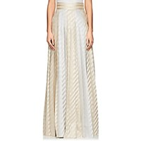 Jourden Striped Pleated Maxi Skirt Champagne Multi