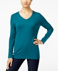 Jm Collection V Neck Button Cuff Sweater Only At Macy's Teal Abyss