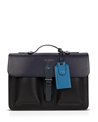 Ted Baker Harlemm Mixed Leather Satchel Mid Blue