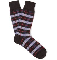Anonymous Ism Checked Wool Blend Socks Black