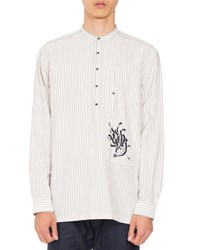 Dries Van Noten Cavan Striped Band Collar Shirt Tan