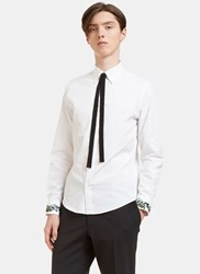 Gucci Duke Floral Embroidered Ribbon Tie Shirt White