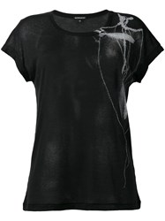 Ann Demeulemeester Bead And Feather Print Rib T Shirt Black