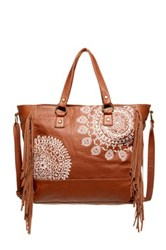 T Shirt And Jeans Embroidered Fringe Tote Brown