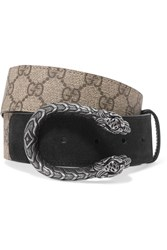 Gucci Dionysus Printed Coated Canvas And Suede Belt Beige