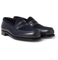 J.M. Weston Leather And Suede Penny Loafers Blue