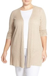 Plus Size Women's Eileen Fisher Organic Linen And Cotton Long Slim Cardigan Natural