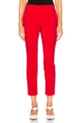 Rosetta Getty Stretch Cady Cropped Skinny Trousers In Red