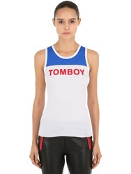 Filles A Papa Printed Tomboy Ribbed Tank Top White Blue