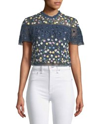 Needle And Thread Tiered Anglais Floral Embellished Cocktail Top Blue