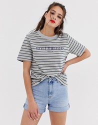 Daisy Street Oversized T Shirt In Stripe With Hollywood Graphics Multi