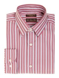 Corsivo Pier Thick And Thin Stripe Shirt Raspberry