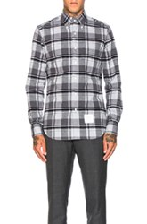 Thom Browne Winter Madras Brushed Oxford Shirt In Gray Checkered And Plaid Gray Checkered And Plaid