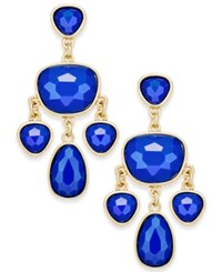 Charter Club Gold Tone Colored Stone Chandelier Earrings Only At Macy's Blue