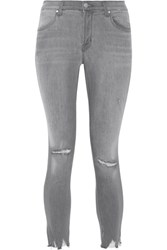 J Brand Alana Cropped Distressed High Rise Skinny Jeans Gray