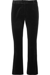 Frame Le Velvet Cropped Velvet Flared Pants Black