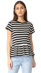 The Great Great. Ruffle Tee Black And Cream Stripe