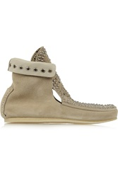 Isabel Marant Morley Studded Suede Moccasin Boots White