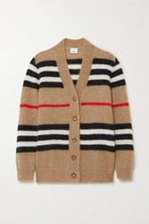Burberry Striped Mohair Blend Cardigan Beige