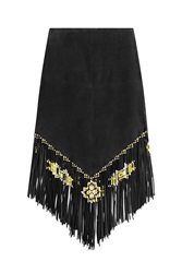 Valentino Suede Skirt With Fringe Black