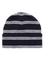 Topman Multi Navy And White Stripe Beanie Hat