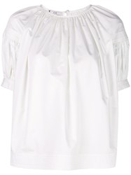 Co Loose Fit Gathered Blouse White