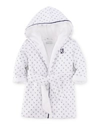 Ralph Lauren Childrenswear Anchor Print Hooded Cotton Robe White Blue Size 3 9 Girl's Size 3 Months White Multi