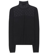 Dorothee Schumacher A Lace Affair Virgin Wool Blend Sweater Black