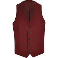 River Island Mens Red Suit Waistcoat