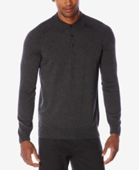 Perry Ellis Men's Merino Ribbed Polo Sweater Charcoal Heather