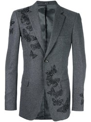 Alexander Mcqueen Moth Embroidered Blazer Grey