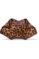Alexander Mcqueen De Manta Leopard Print Calf Hair And Leather Clutch Leopard Print